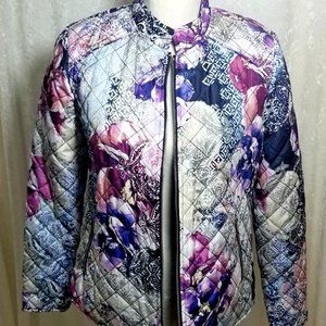 NWT Chico's Floral Puffer Jacket